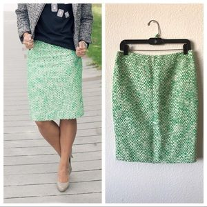 J.Crew no.2 pencil skirt green & white speckled
